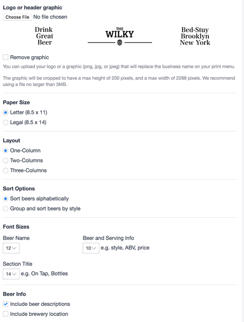 Create A Print Beer Menu With One Click