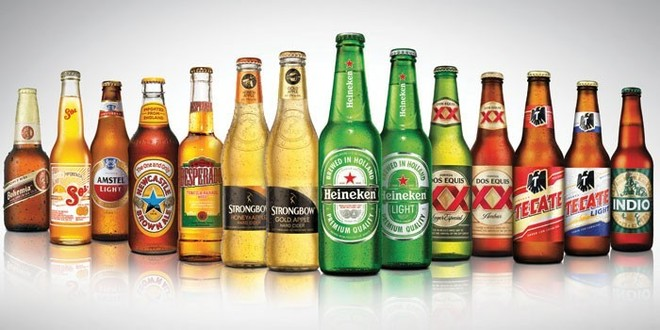 imported beer bottles