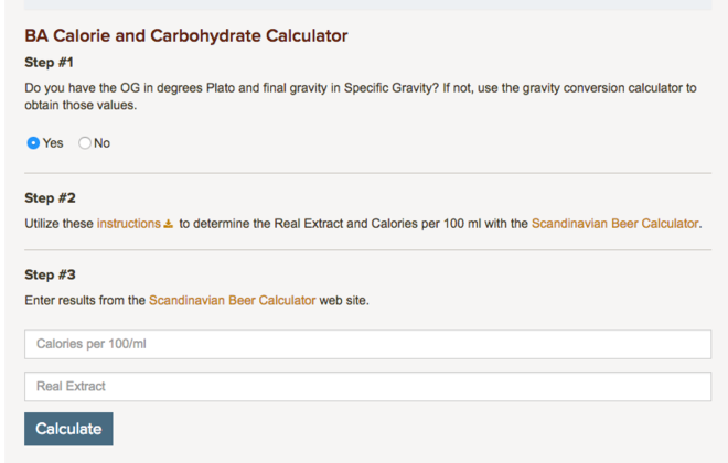 Brewer's Association Calorie and Carbohydrate Calculator