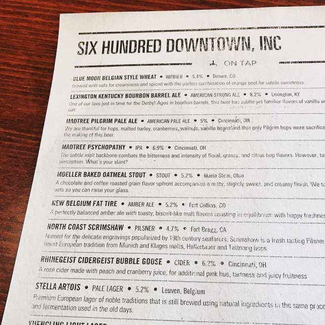 600 Downtown beer menu template