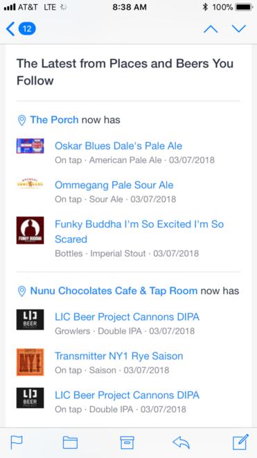 BeerMenus Email