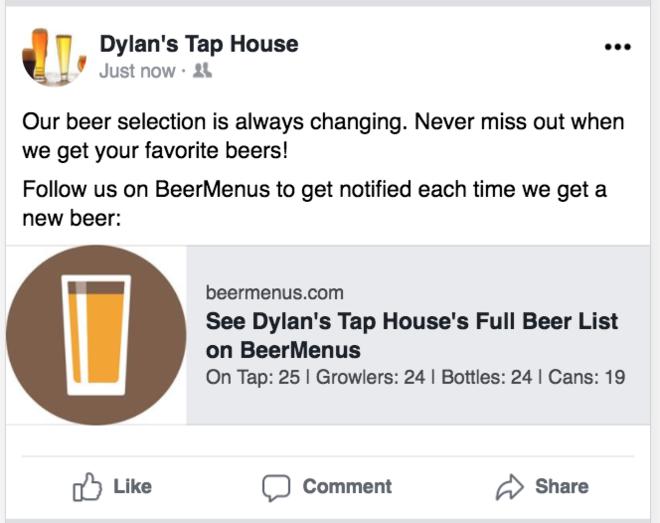 beermenus facebook