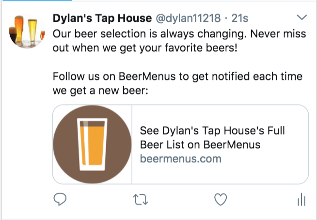BeerMenus Twitter